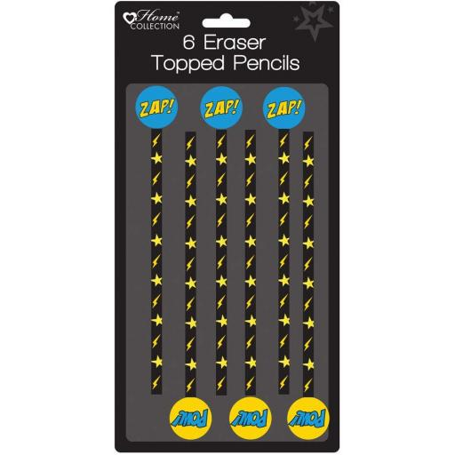 Home Collection Superhero Eraser Topped Pencils - Pack of 6