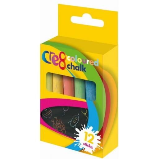 Cre8 Coloured Chalk Sticks - Pack of 12