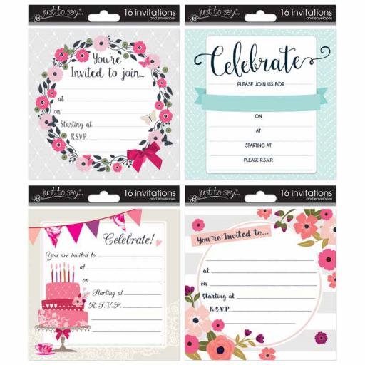 Just to Say - Adult Invitation Cards, Pack of 16
