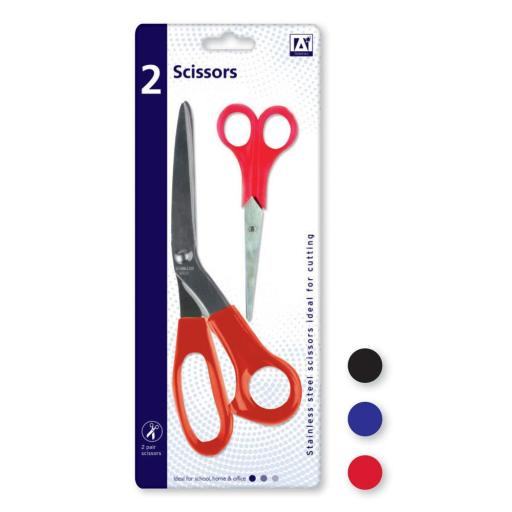 IGD Scissors 2 Pack - Assorted Colours
