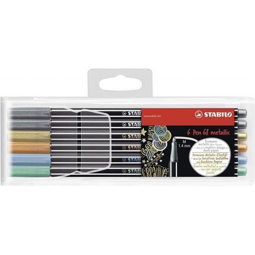 Stabilo Pen 68 Metallic, Assorted - Pack of 6