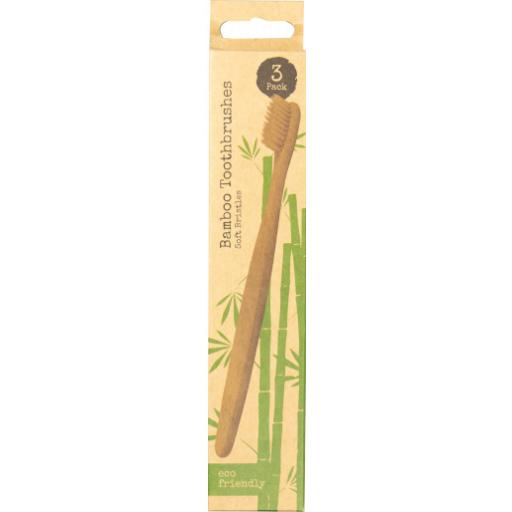 Eco Friendly Bamboo Toothbrushes - Pack of 3