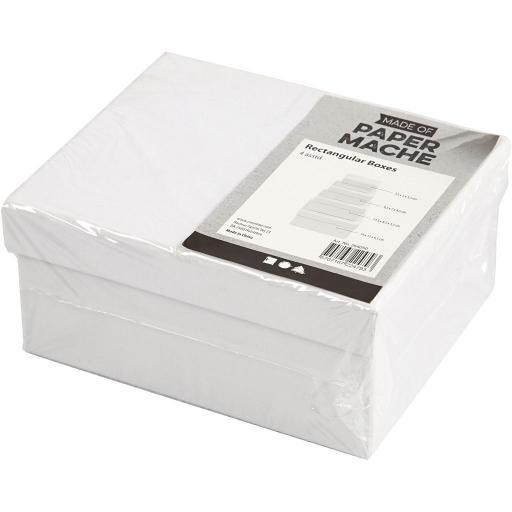 Creativ Paper Mache Rectangular Boxes - Set of 4