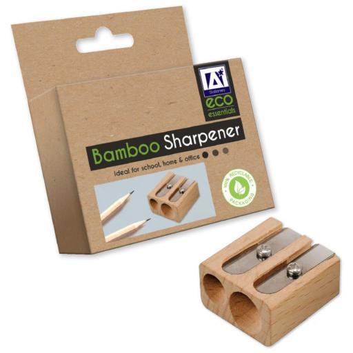 IGD Eco Bamboo Double Hole Sharpener