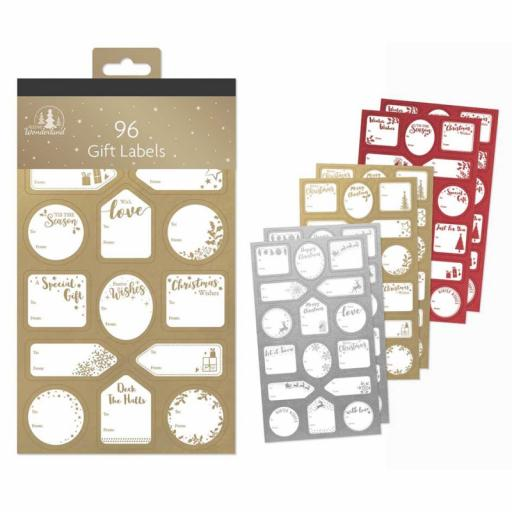 Festive Wonderland Christmas Gift Labels Gold/Silver Red - Pack of 96