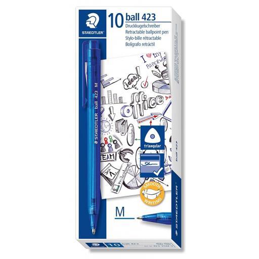 Staedtler Retractable Ballpoint Pen Medium - Blue, Pack of 10