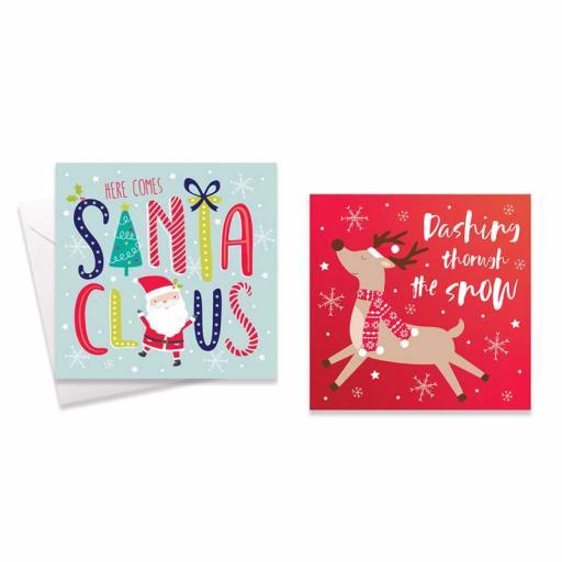 Festive Wonderland Square Christmas Cards, Fun Santa/Rudolph - Box of 10