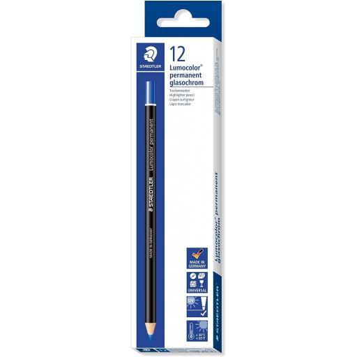 Staedtler Lumocolor Permanent Glasochrom Pencil, Blue - Box of 12