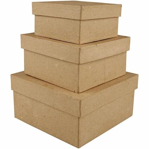 Creativ Paper Mache Brown Square Boxes - Set of 3