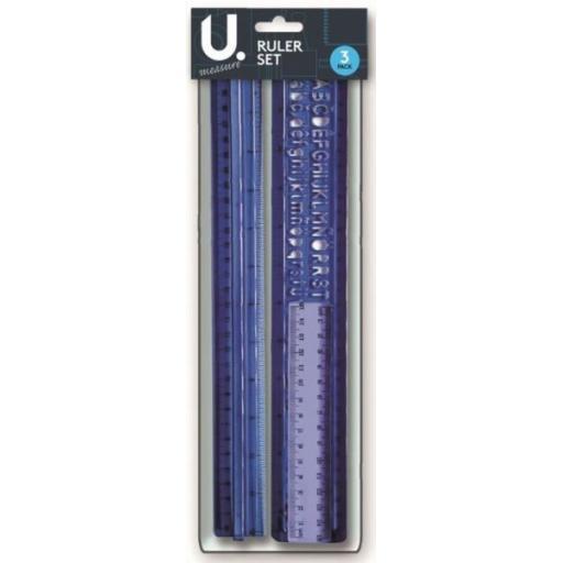 U. Ruler & Stencil Set - Pack of 3