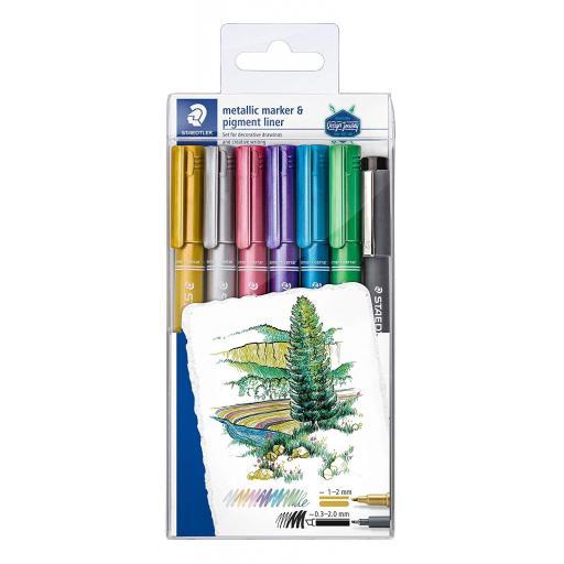 Staedtler Metallic Marker - Pack of 6 + Pigment Liner