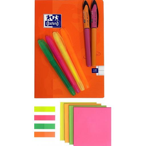 BG Highlight Set, Uni-Ball Air Micro Pens & Ruled Oxford A5 Notebook - Orange