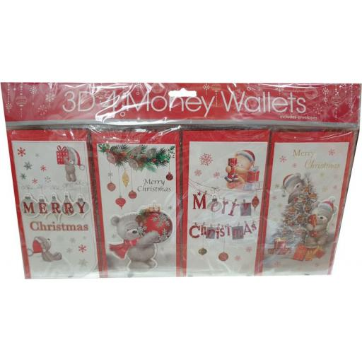 Tulip Christmas Money Wallets Bears - Pack of 4