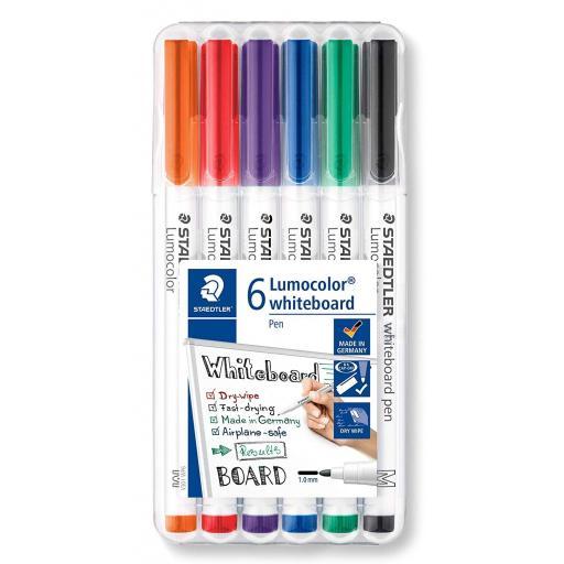 Staedtler Lumocolor Whiteboard Pens Medium Tip - Pack of 6