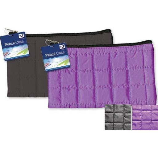 IGD Quilted Pencil Case Black or Purple