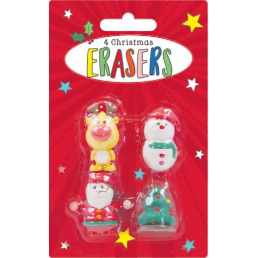 Tallon Christmas Shaped Erasers - Pack of 4