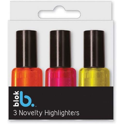 IGD Novelty Nail Varnish Highlighters - Pack of 3