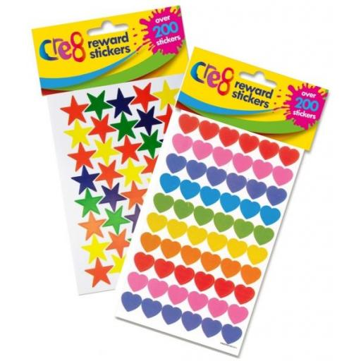Cre8 Reward Stickers Stars or Hearts 200 Pack