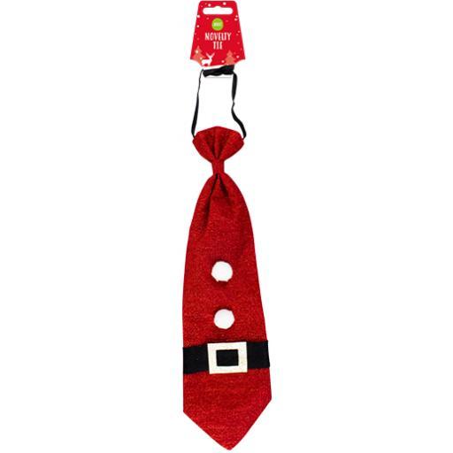 Gem Adult Novelty Red Christmas Tie - Santa