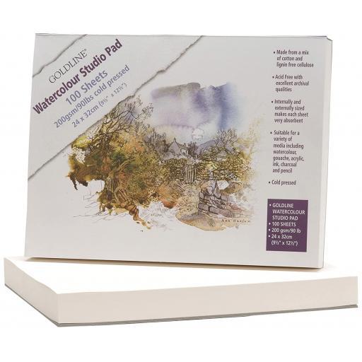 Goldline Watercolour 200 gsm Studio Pad 24x32cm - 100 Sheets