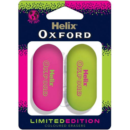Helix Oxford Clash Eraser Set, Pink & Green - Pack of 2