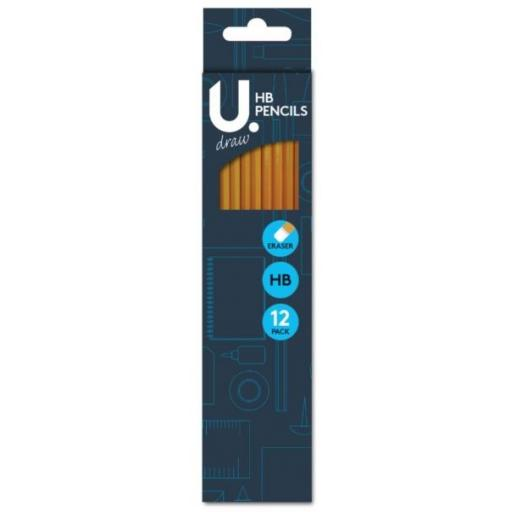 U. Eraser Tipped HB Pencils - Pack of 12