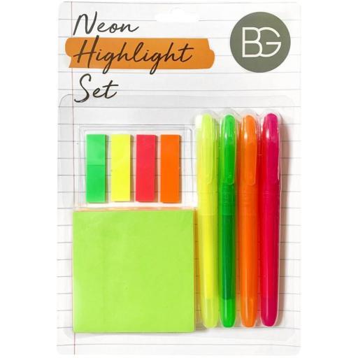BG Neon Highlight Set - Highlighters, Sticky Notes & Index Tabs