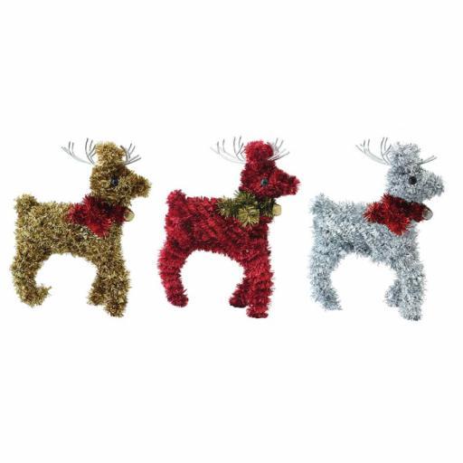 Festive Wonderland Tinsel Reindeer Decoration