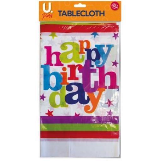 U.Party - Happy Birthday Tablecover, 180 x 120cm