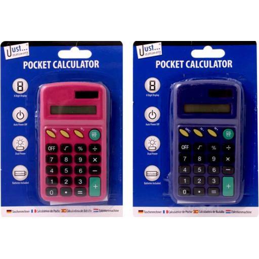JS Pocket Calculator Pink/Navy