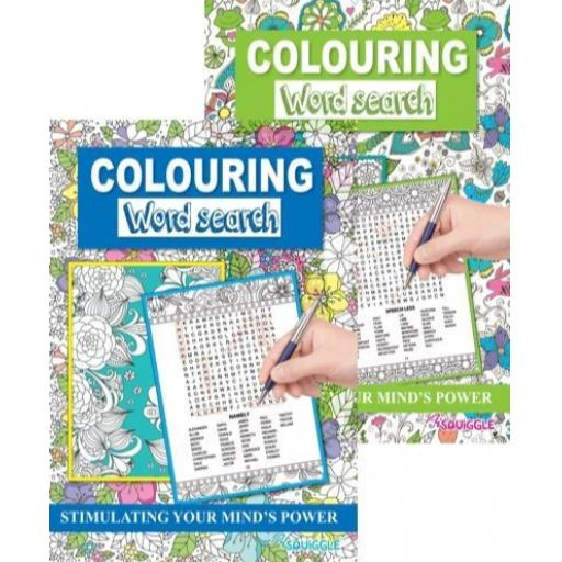 Squiggle A4 Colouring Wordsearch Book - Assorted Designs