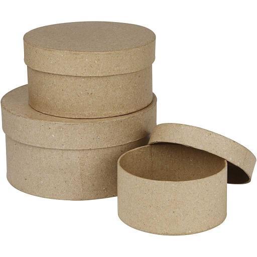 Creativ Paper Mache Brown Round Boxes - Set of 3
