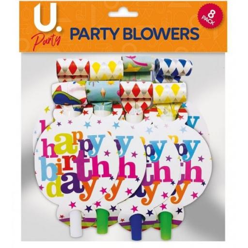 U.Party - Happy Birthday Party Blowers - Pack of 8