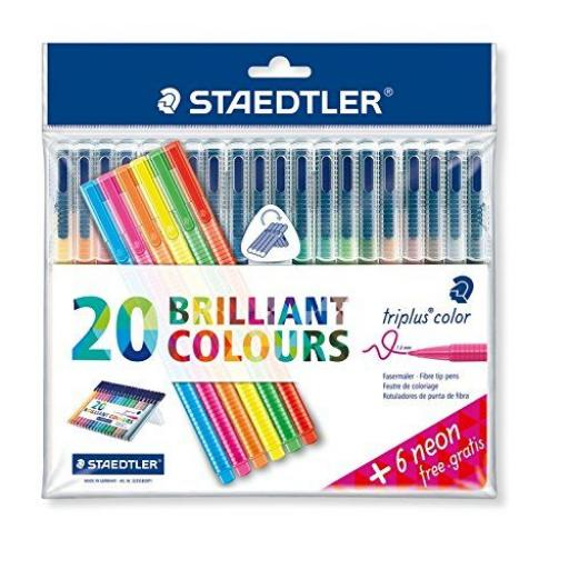 Staedtler Triplus Color Fibre-Tip Pens 1.0mm + Neon - Pack of 26