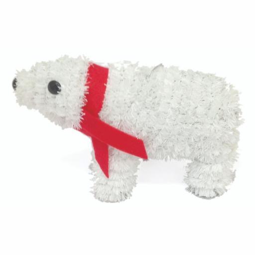 Festive Wonderland Tinsel Polar Bear Decoration