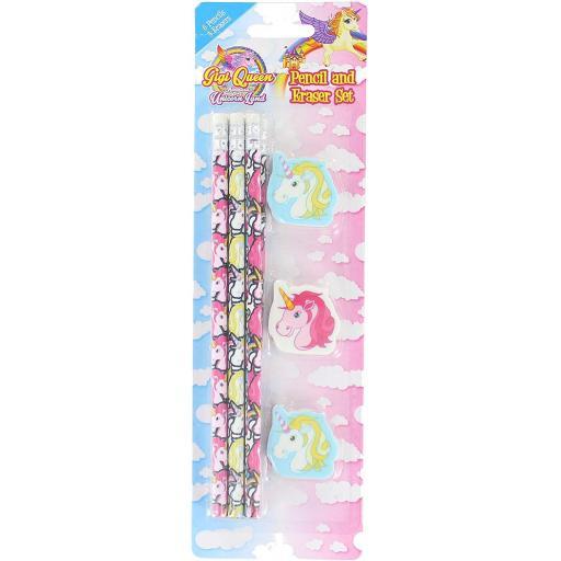 PMS Unicorn Pencils & Eraser Set - Pack of 9