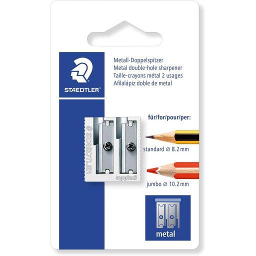 Staedtler Double Hole Metal Pencil Sharpener Blister Card