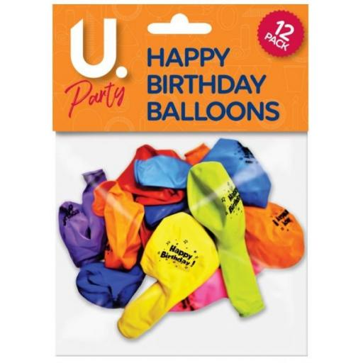 U.Party - Happy Birthday Balloons - Pack of 12