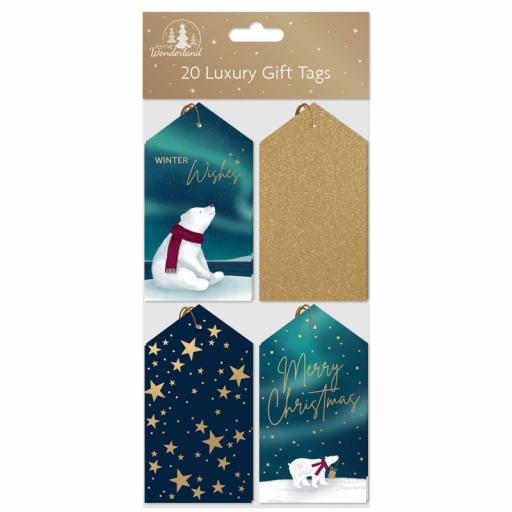Festive Wonderland Luxury Gift Tags, Blue & Gold - Pack of 20