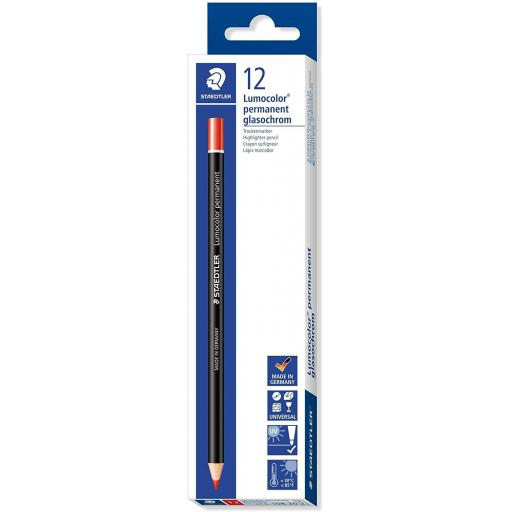 Staedtler Lumocolor Permanent Glasochrom Pencil, Red - Box of 12