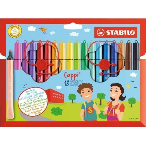 Stabilo Cappi Fibre Tip Pens + Cap Ring - Box of 18
