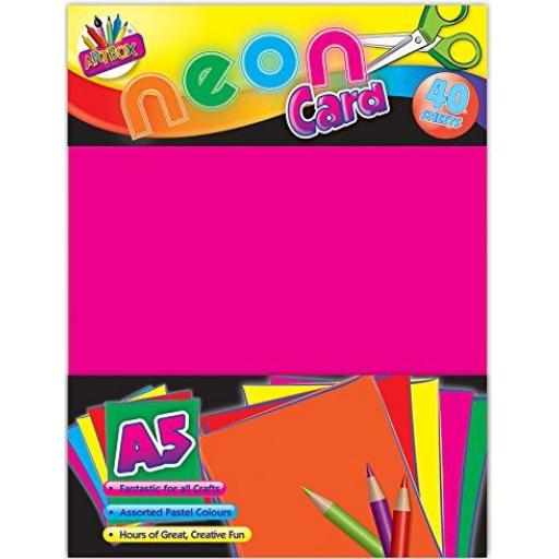 Artbox A5 Neon Card, Assorted Colours - Pack of 30