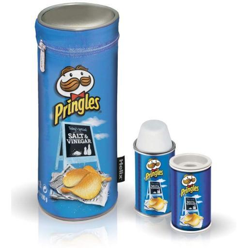 Pencil Case, Eraser & Sharpener Set - Pringles Blue
