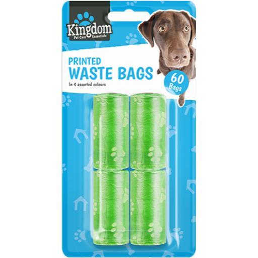 Gem Emoticon Print Waste Bags, Asst. Colours - Pack of 60
