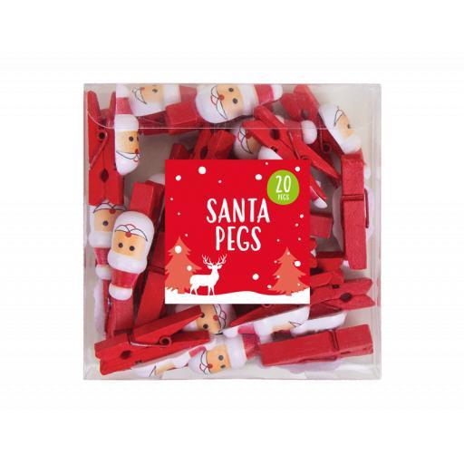 Gem Christmas Santa Pegs - Pack of 20