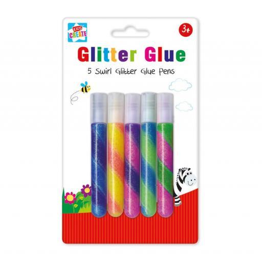 Kids Create Swirl Glitter Glue Pens - Pack of 5