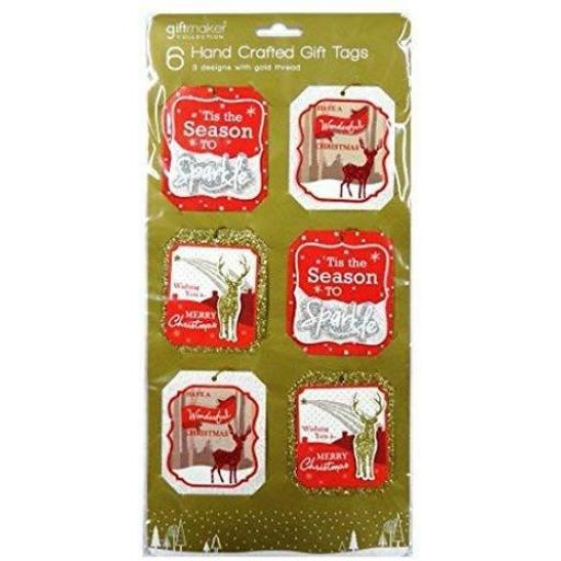IGD Giftmaker Collection Handcrafted Gift Tags & Gold Thread - Pack of 6