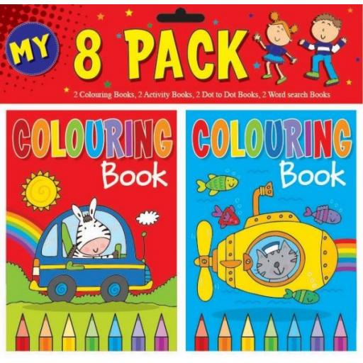 Squiggle A6 Colouring & Activity Book Set - Pack of 8