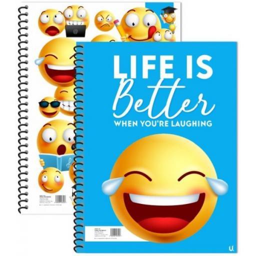 Squiggle Emoji A4 Spiral Notebook - Assorted