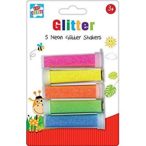 Kids Create Neon Glitter Shakers - Pack of 5